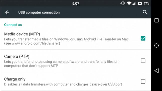 Impostazione Media device (MTP) su Android