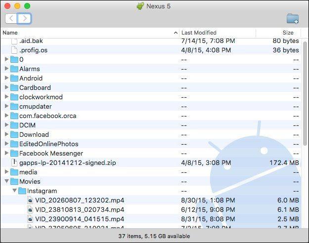 Cartella file di Android visualizzata dal Mac