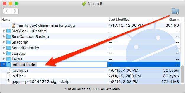 Creazione Nuova Cartella su Android dal Mac