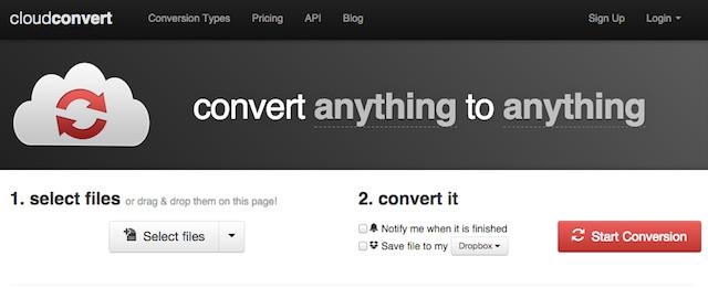 Schermata del convertitore online Cloud Convert