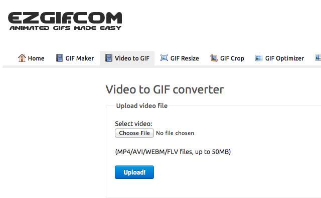 Schermata del convertitore online EzGif