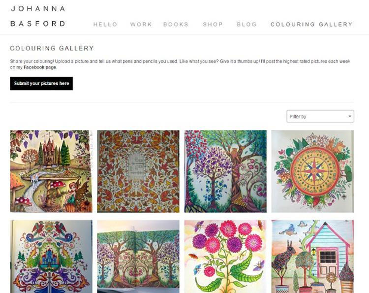 Immagine del sito di Johanna Basford con disegni da colorare per adulti