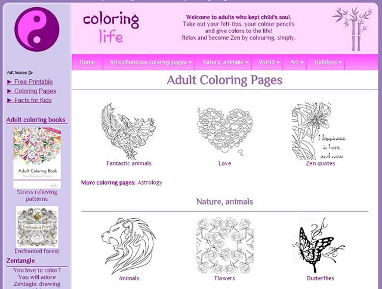 Immagine del sito Coloring Life con disegni da colorare per adulti