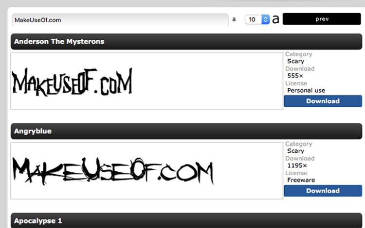 Immagine del sito FontPark per scaricare font gratis