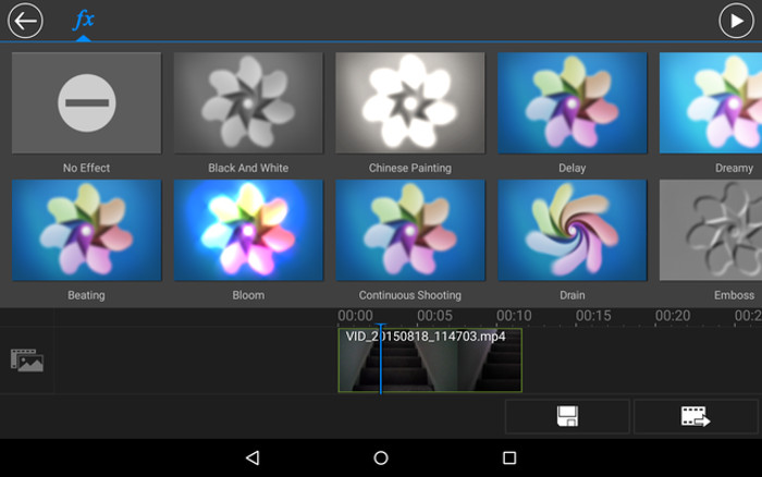 Schermata del video editor PowerDirector per Android