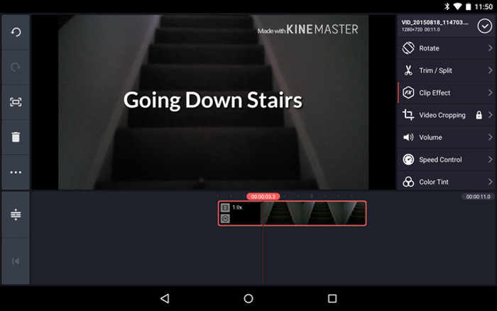 Schermata del video editor KineMaster per Android