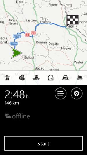 Schermata del navigatore satellitare Here Drive+ per Windows Phone