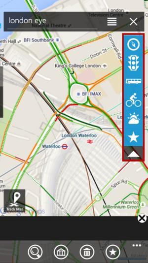 Schermata del navigatore satellitare GMaps per Windows Phone