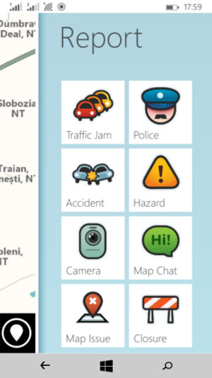 Schermata del navigatore satellitare Waze per Windows Phone