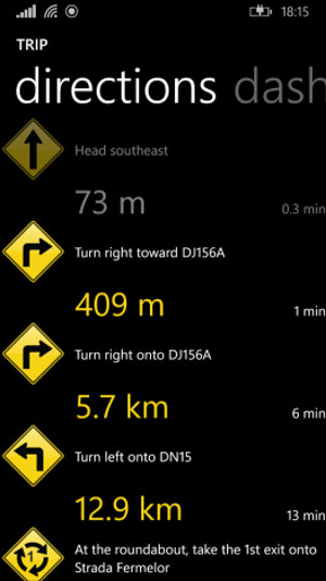 Schermata del navigatore satellitare GPS Voice Navigation per Windows Phone