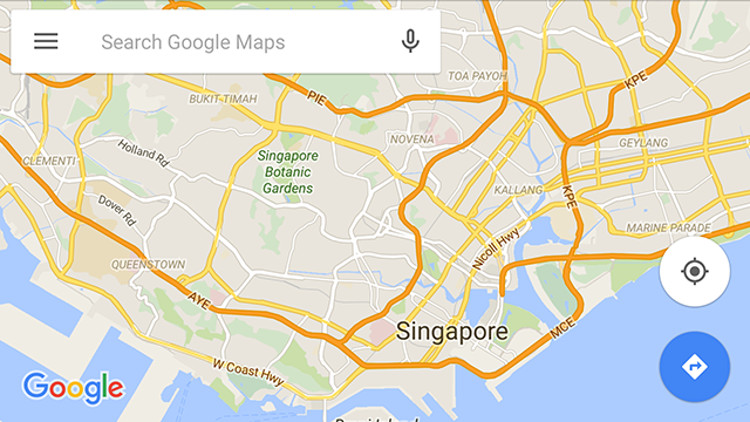 Mappa di Singapore su Google Maps