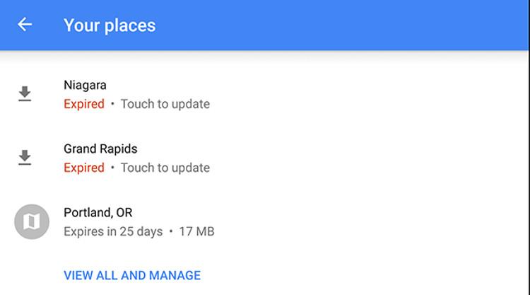"""Schermata """"I tuoi luoghi"""" su Google Maps"""