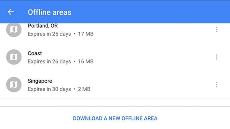 Schermata delle Aree Offline su Google Maps