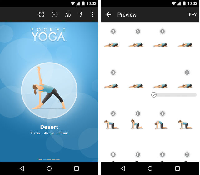 Schermate dell'app Pocket Yoga per Android
