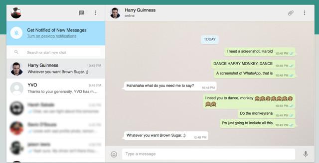 Schermata di WhatsApp Web