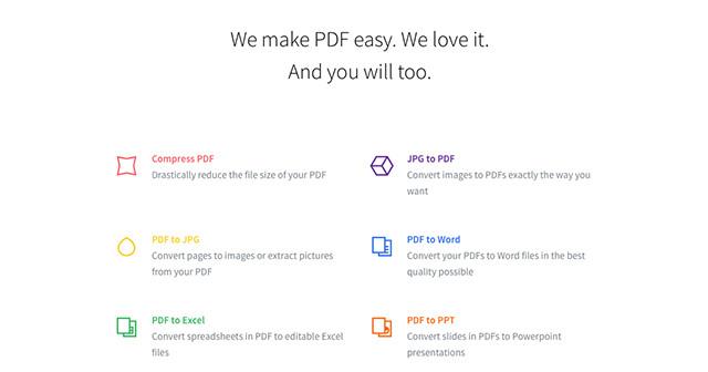Schermata del sito Smallpdf