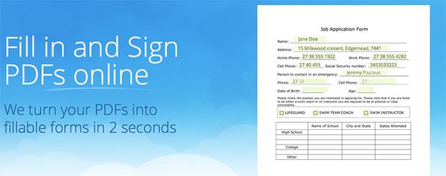 Schermata del sito Paperjet