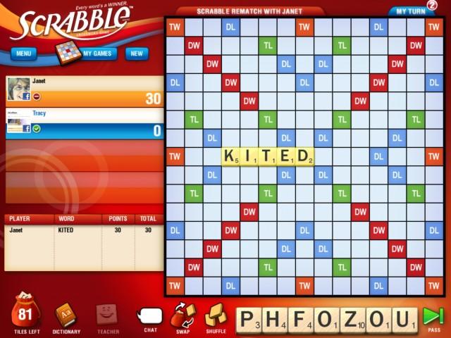 Schermata del gioco da tavola Scarabeo per smartphone