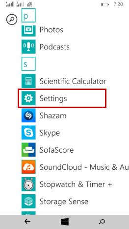 Pulsante delle impostazioni su Windows Phone