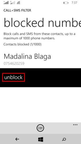 Pulsante per sbloccare un numero precedentemente bloccato