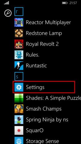 Pulsante Impostazioni di Windows Phone
