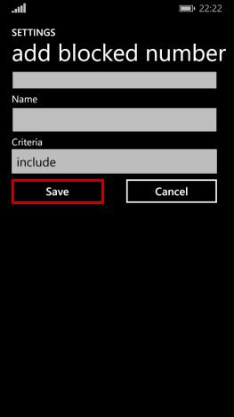 Schermata per l'inserimento del numero da bloccare