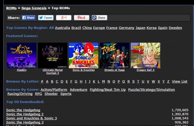 Sito per scaricare ROM di giochi per Android
