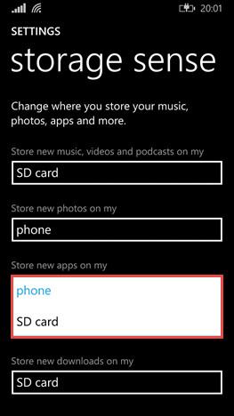 Selezione della memoria SD per il salvataggio di tutte le nuove app