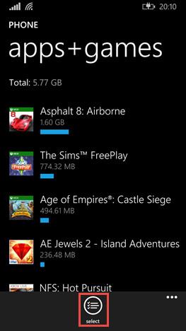 Selezione delle app e dei giochi da spostare sulla memoria SD