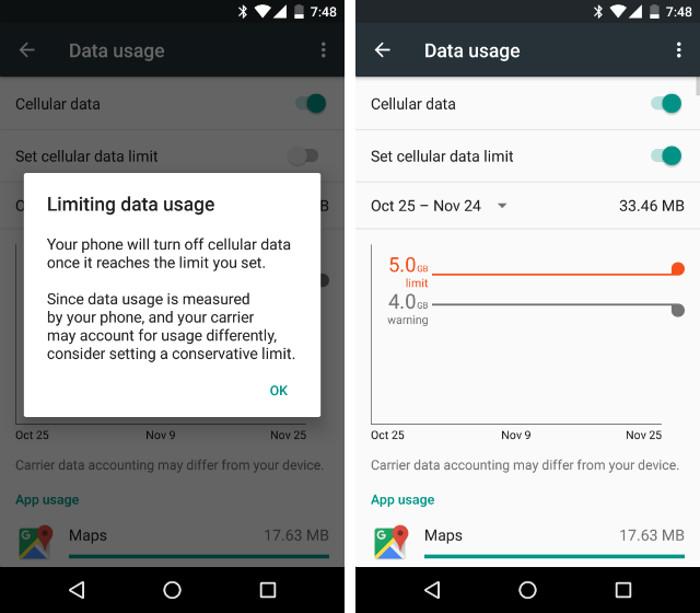 Impostare un limite di connessione dati mensile su Android