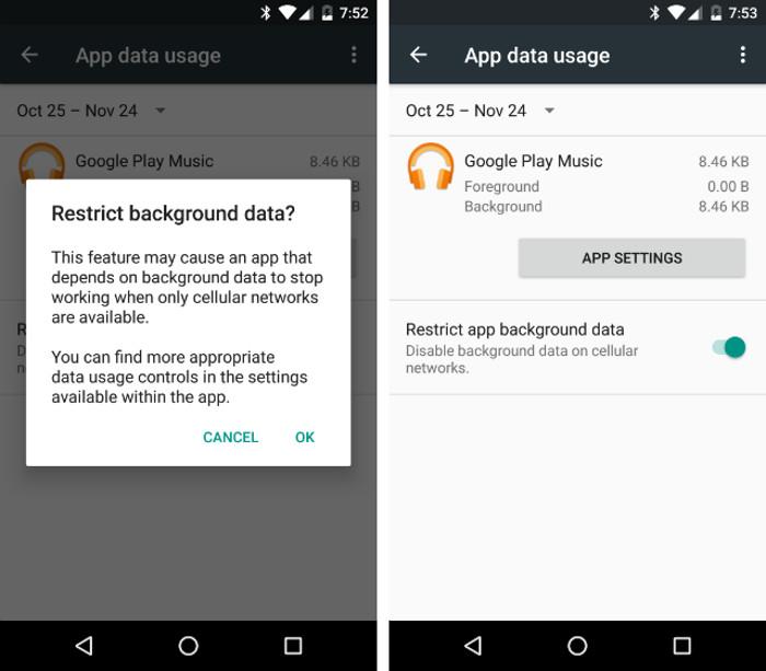 Impostazioni per disabilitare l'utilizzo della connessione dati per ogni singola app Android