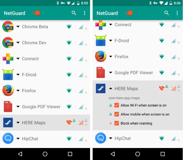 Schermate dell'app NetGuard per Android