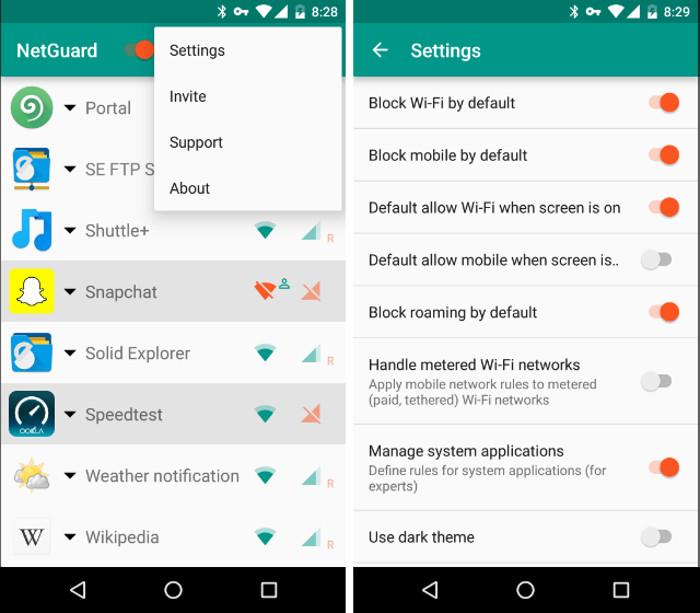 Schermate dell'app NetGuard per bloccare l'utilizzo della connessione dati