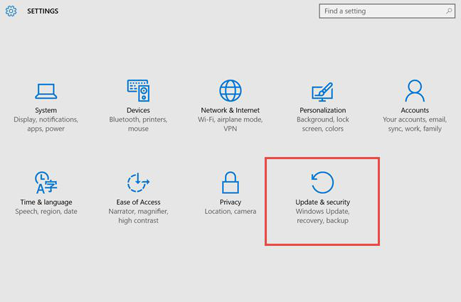 Pulsante per accedere alla sezione di aggiornamenti e sicurezza di Windows 10