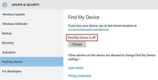 """Selezione della voce """"Trova il mio dispositivo"""" su Windows 10"""