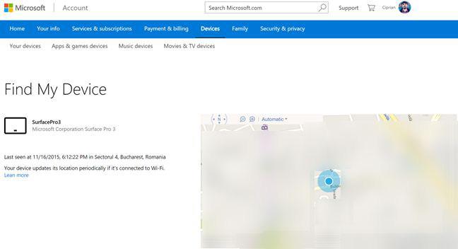 Mappa con posizione del dispositivo Windows 10