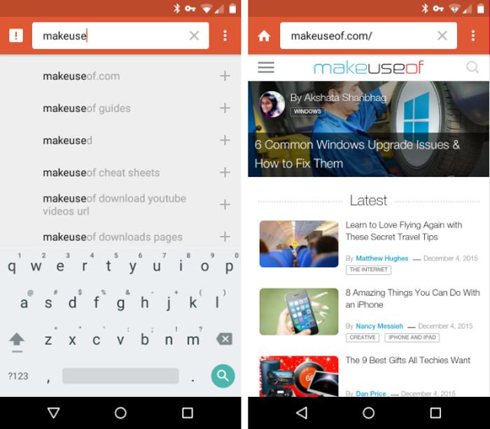 Schermate del motore di ricerca DuckDuckGo per Android