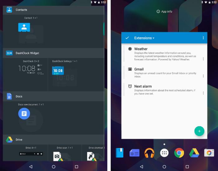 Schermate dell'app DashClock per Android