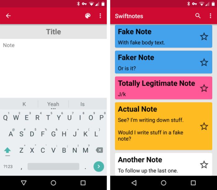 Schermate dell'app Swiftnotes per Android