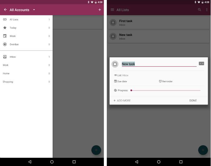 Schermate dell'app Mirakel per Android