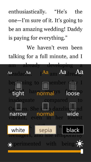 Schermata dell'app Amazon Kindle per Windows Phone