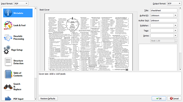 Schermata del programma Calibre per esportare il testo da file PDF