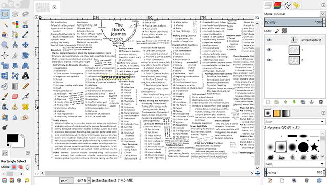 Schermata del programma GIMP per modificare file PDF su Linux