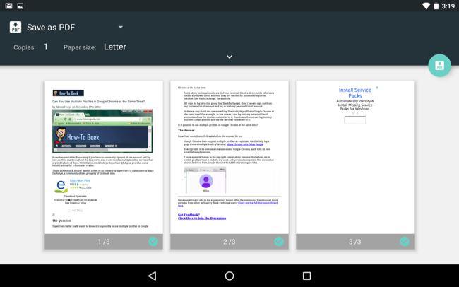 Schermata di Android con la funzione Stampa come PDF
