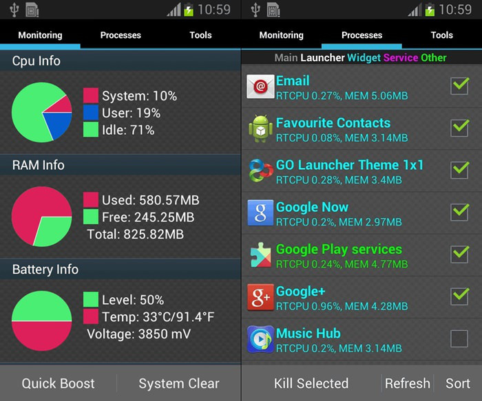 Schermate dell'app Android Assistant