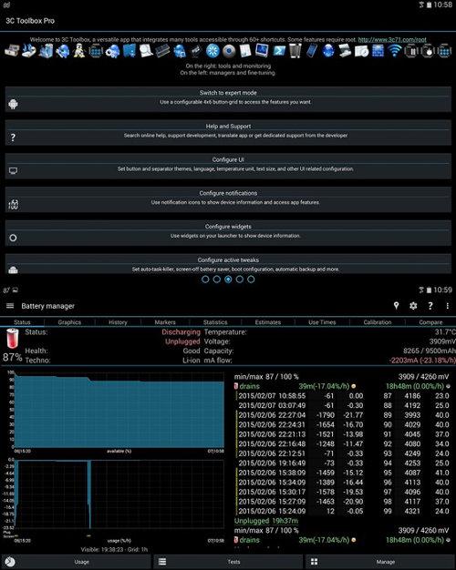 Schermata dell'app 3C Toolbox per Android