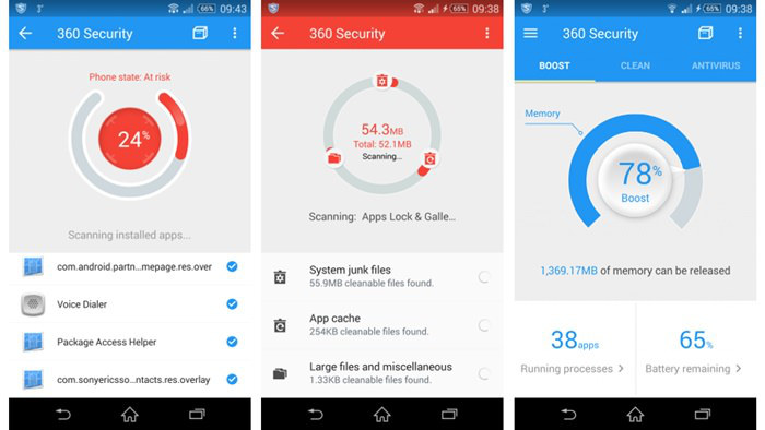 Schermate dell'app 360 Security per Android