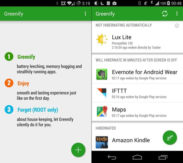Schermate dell'app Greenify per Android