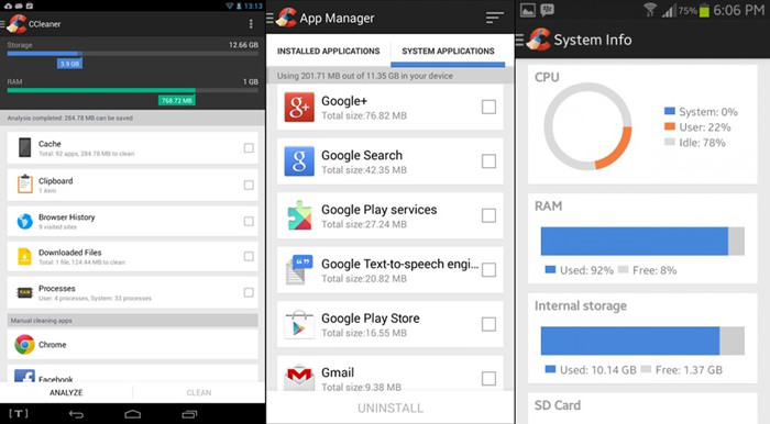 Schermate dell'app CCleaner per Android