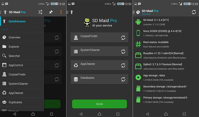 Schermate dell'app SD Maid per Android